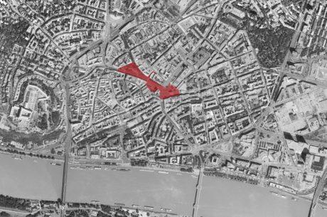 Ortofotomapa Bratislavy a vyznačené územie Námestia SNP a Kamenného námestia